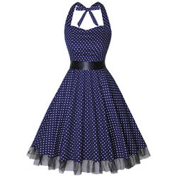 Women Vintage 50s Halter Rockabilly Polka Dots Audrey Retro Party Cocktail Dress $16.99