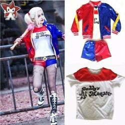 Kids Girls Suicide Squad Harley Quinn Coat Shorts Top Set Halloween COS Costume $25.98