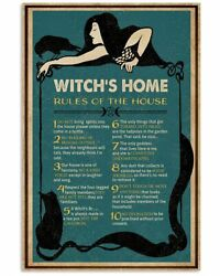 Witch#x27;s Home Rules Funny Halloween Gift Retro Vintage Home Decor Poster Green $14.95
