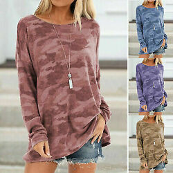 Women Long Sleeve Camouflage Tunic Tops Loose Pullover Sweatshirt T Shirt Blouse $15.99