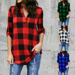 Womens Casual Long Sleeve Plaid Shirt V Neck Loose T Shirt Tops Blouse Plus Size $12.99