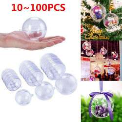 50x Clear Plastic Ball Baubles Sphere Fillable Christmas Ornament Craft Gift Lot