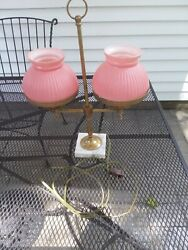Antique Student Lamp Pink Shades Marble Base $58.50