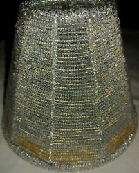 Beaded Lamp Shades Silver amp; Some Gold Beads Heavy $14.99