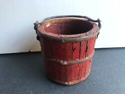 Antique Wooden Stave Bucket Pail Forged Wrought Iron Handle Berry Bucket $65.00