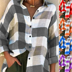 Womens Long Sleeve Check Plaid Shirt V Neck Loose T Shirt Tops Blouse Plus Size $13.99