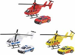 Teamsterz Emergency Response Toy Helicopter amp; Car Rescue Police Fire Vehicle GBP 6.95