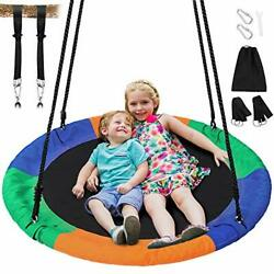 40 Inch Flying Saucer Tree Swing Round Indoor Outdoor Swingset with Hanging St $101.23