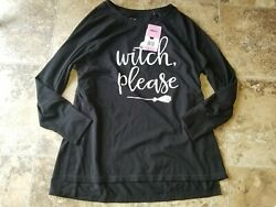 Nwt Womens State of Mine Shirt Halloween Black Witch Please Broom L S S M XL $13.56