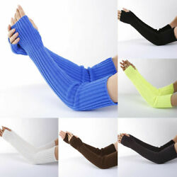 Womens Stretchy Long Sleeve Fingerless Gloves Warm Knitted Mittens Arm Warmers $7.42