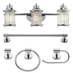 Bayfield 3 Light Chrome Vanity Light With Clear Glass Shades and Bath Set by Glo $89.90