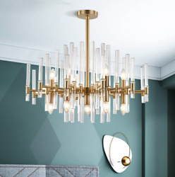 Horchow French Mid Century French Modern Deco XL Chandelier Brass amp; Glass Light $664.05
