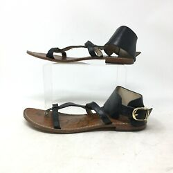 Sam Edelman Ginnie Low Gladiator Sandal Ankle Buckle Leather Black Womens 7M $29.99