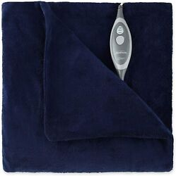 Sunbeam Microplush Electric Heated Throw Blanket Royal Blue $29.99