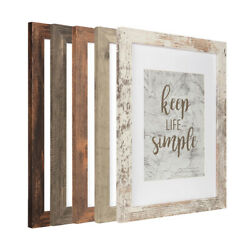 Rustic Wood 11x14 Photo Frame with Glass Mat 8x10 Poster Picture Frames Wall Set $19.99