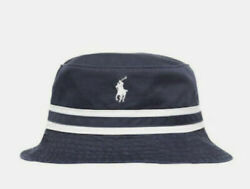 NEW Polo Ralph Lauren Cotton Chino Bucket Hat Golf Sun Beach Navy Blue S M $48.98