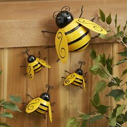 Decorative Metal Bumble Bee Garden Accents Lawn Ornaments Set of 4 $13.98