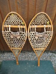 VINTAGE Snowshoes 43quot; Long x 15quot; Wide Has Leather Binding GREAT For DECORATION $49.68