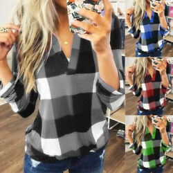 Women Casual Long Sleeve Plaid Check T Shirt Ladies V Neck Top Basic Tee Blouse $9.99