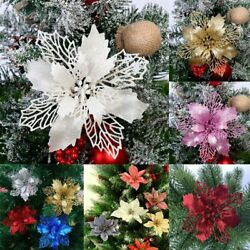 10X Christmas Large Poinsettia Glitter Flower Tree Hanging Party Xmas Decor New GBP 4.49