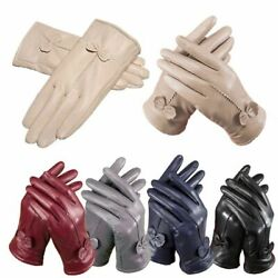 Women#x27;s Ladies Genuine Lambskin Leather Gloves Winter Warm Driving Soft Lining $7.88