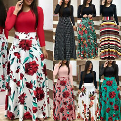 Women Boho Floral Long Sleeve Maxi Dress Casual Party Cocktail Splice Dress $18.58