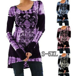 Women Boho Long Sleeve Crew Neck Floral T Shirt Dress Casual Loose Blouse Tops $14.87