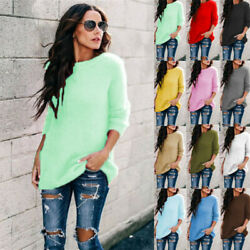 Women Winter Fluffy Sweater Long Sleeve Fleece Pullover Tops Tunic Lose Blouse $12.99