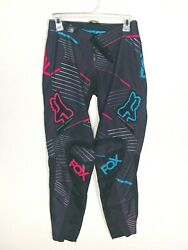 Fox Motocross Unisex Black Blue and Pink Pants Size 12 14 Length 28 In EUC $29.99