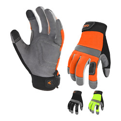 Vgo 3Pairs Synthetic Leather Work Gloves for Men Mechanic Gloves SL7584 $16.98