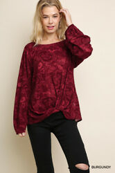 Clearance Sale: NWT Umgee Long Sleeve Red Floral Paisley Top with Knotted Hem $20.99