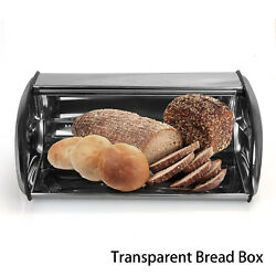 Bread Box Stainless Bin Kitchen Container Cake Keeper Food Storage Roll Top Lid $40.99
