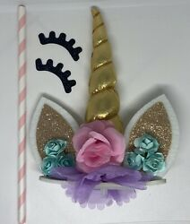 Unicorn Cake Topper With Eyelashes Birthday Party Girls Includes Instructions $9.77