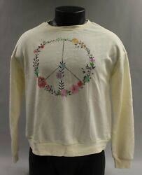 Fifth Sun Women#x27;s Long Sleeve Pullover Floral Print Peace Sweater Cream New $8.00