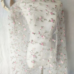 1 Yard Lace Fabric White Tulle Pink Small Floral Exquisite Embroidered 51quot; $8.90