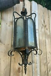Antique Chandelier Ceiling Porch light Ice Frosted Glass Vtg Brass Iron 198 20J $395.00
