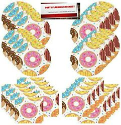 Donut Party Supplies Bundle Pack for 16 guests Plus Party Planning Checklist... $16.83