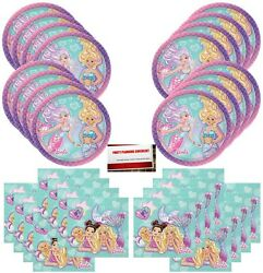 Mermaid Barbie Birthday Party Supplies Bundle Pack for 16 Guests Plus Party ... $24.64
