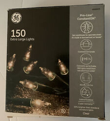 GE 150 Extra Large Lights Clear w Green Wire 43.4ft New in Box