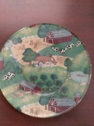 Vintage Glass Plate Country Scene Fabric Backed 8quot; $15.50