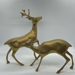 Large Vintage Brass Deer Buck and Doe Set of 2. Mid century modern Christmas $25.00