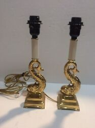 Vintage Pair Lamps Dolphin Asian Koi Fish Sea Serpent Brass Hollywood Regency $149.95