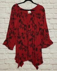 1X 2X 3X New Dark Red Black Embroidered Floral Peasant Blouse Boho Plus Top 74$ $32.99
