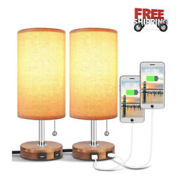 Bedside Desk Lamp with Dual USB Charging Ports Round Fabric Lamp Sets 2 Packs $68.89