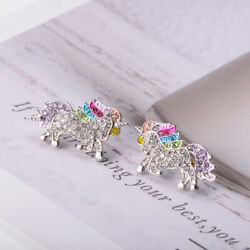 1 Pair Colorful Unicorn Earrings Stylish Ear Stud Ear Accessories Casual $6.57