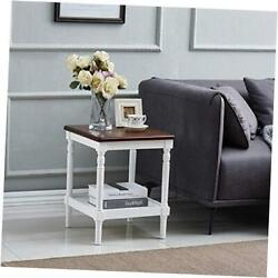 Rustic Side Table End Table Vintage Nightstand printer stand with Storage Shel $70.16
