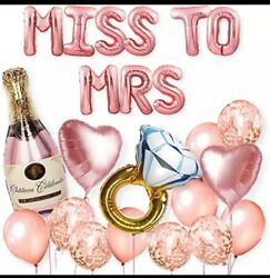 Miss to Mrs Bachelorette Party Decoration Kit Bridal Shower Banner Foil Balloons $12.95