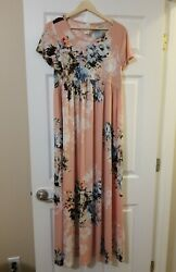 Beeson River Small blush pink floral maxi dress Short Sleeve Boho $14.99