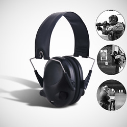 Foldable Electronic Ear Muffs Shooting Hearing Noise Protection Headphone Black $26.59