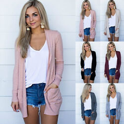 Women Knit Cardigan Long Sleeve Open Front Draped Sweater Loose Blouse Tunic Top
